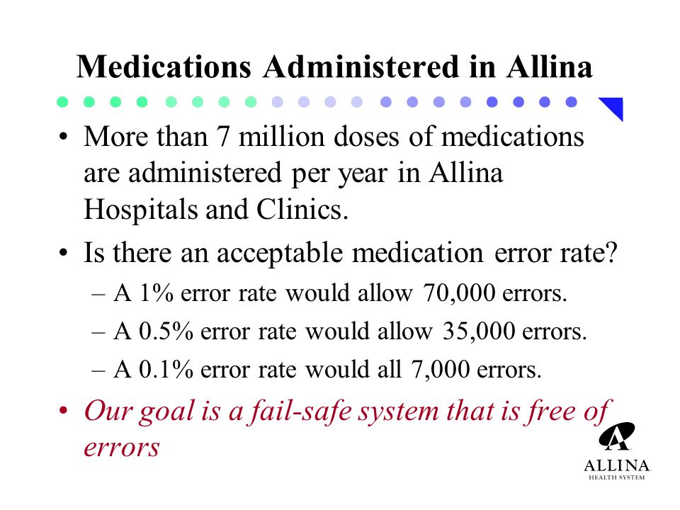Medications Administered in Allina More than 7 million doses of medications are administered per year in Allina Hospitals and Clinics.