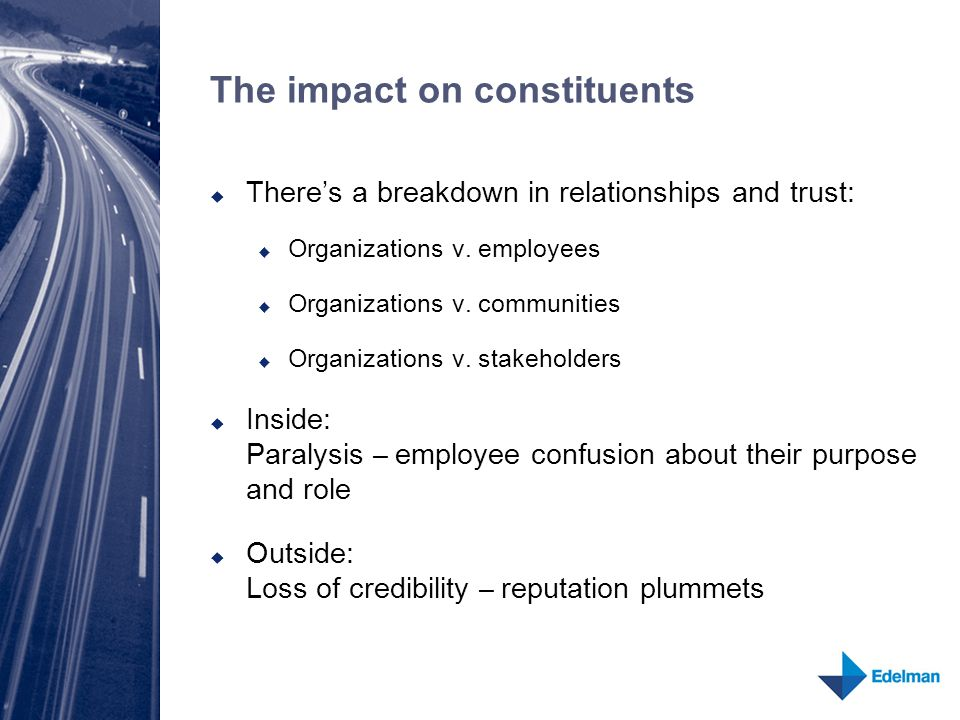The impact on constituents  There's a breakdown in relationships and trust:  Organizations v. employees  Organizations v. communities  Organizatio