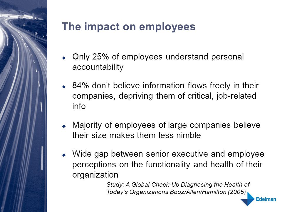 The impact on employees  Only 25% of employees understand personal accountability  84% don't believe information flows freely in their companies, depriving them of critical, job-related info  Majority of employees of large companies believe their size makes them less nimble  Wide gap between senior executive and employee perceptions on the functionality and health of their organization Study: A Global Check-Up Diagnosing the Health of Today's Organizations Booz/Allen/Hamilton (2005)