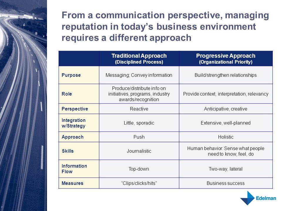 Traditional Approach (Disciplined Process) Progressive Approach (Organizational Priority) PurposeMessaging; Convey informationBuild/strengthen relatio