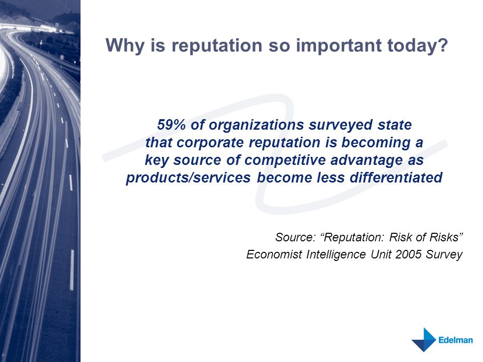 Why is reputation so important today? 59% of organizations surveyed state that corporate reputation is becoming a key source of competitive advantage