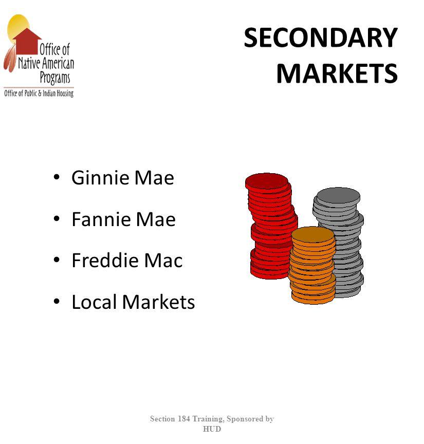 SECONDARY MARKETS Ginnie Mae Fannie Mae Freddie Mac Local Markets Section 184 Training, Sponsored by HUD