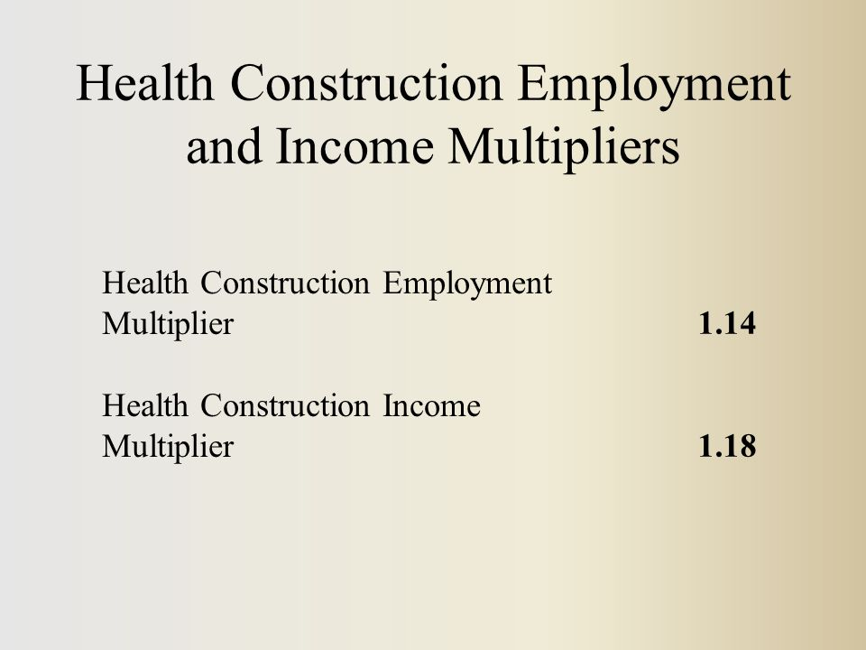 Health Construction Employment and Income Multipliers Health Construction Employment Multiplier1.14 Health Construction Income Multiplier1.18