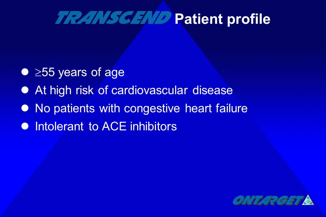  55 years of age At high risk of cardiovascular disease No patients with congestive heart failure Intolerant to ACE inhibitors Patient profile