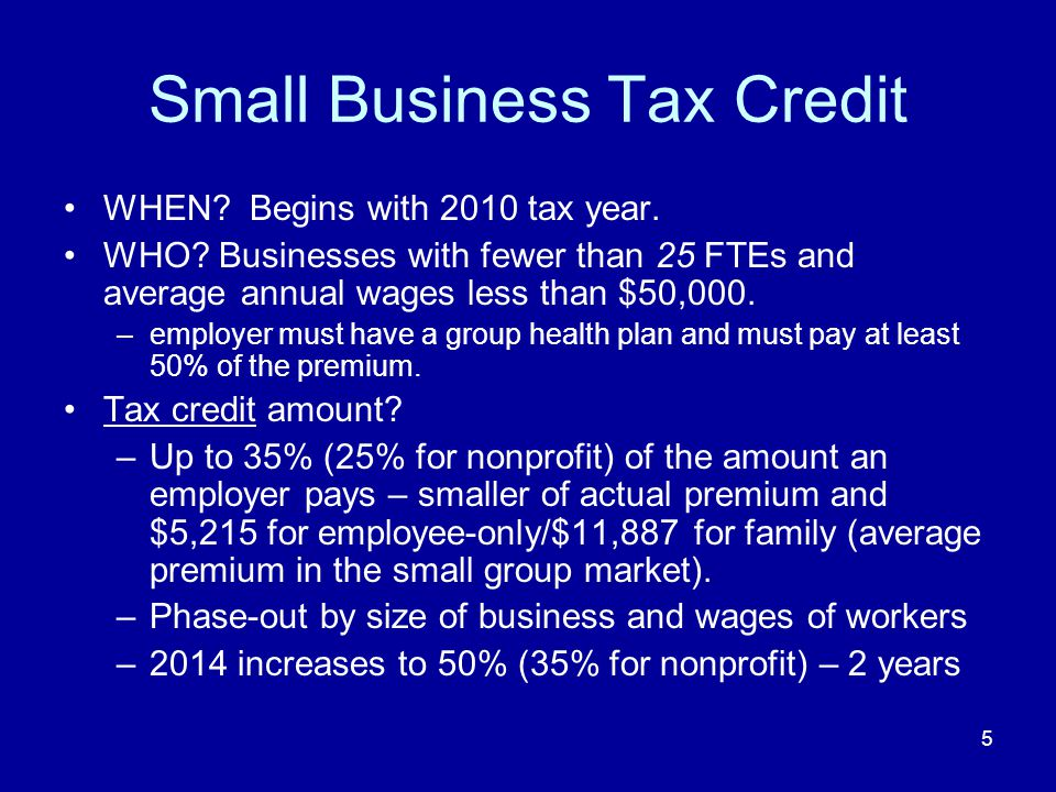 6 Tax Credits for Small Businesses BOI website – FAQs updated as guidance is provided Outreach and education: insurance agents, consumer groups, and others –BOI invited to provide technical assistance on insurance questions.