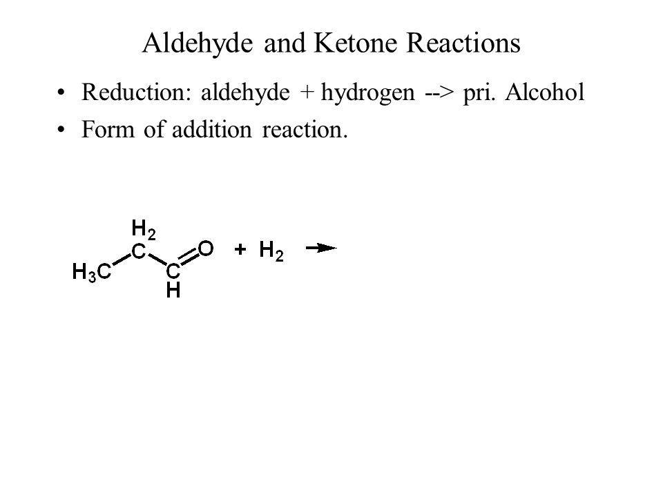 Reduction: aldehyde + hydrogen Break hydrogen bond