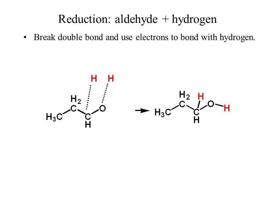 Reduction: aldehyde + hydrogen Brief Method