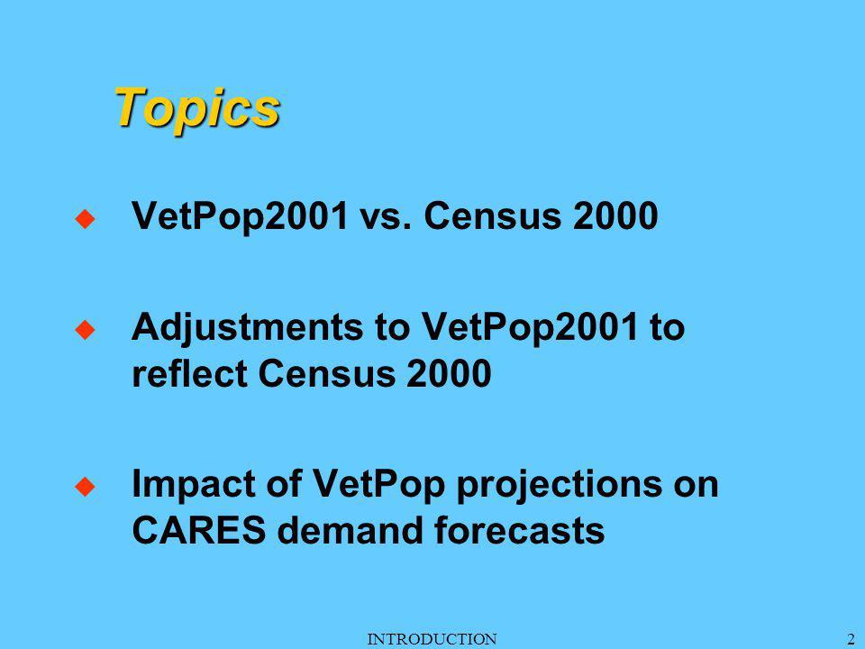 INTRODUCTION2 Topics u VetPop2001 vs.