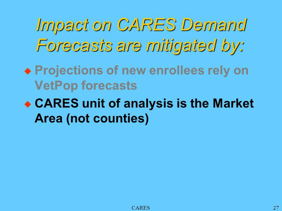 CARES27 Impact on CARES Demand Forecasts are mitigated by: u Projections of new enrollees rely on VetPop forecasts u CARES unit of analysis is the Market Area (not counties)