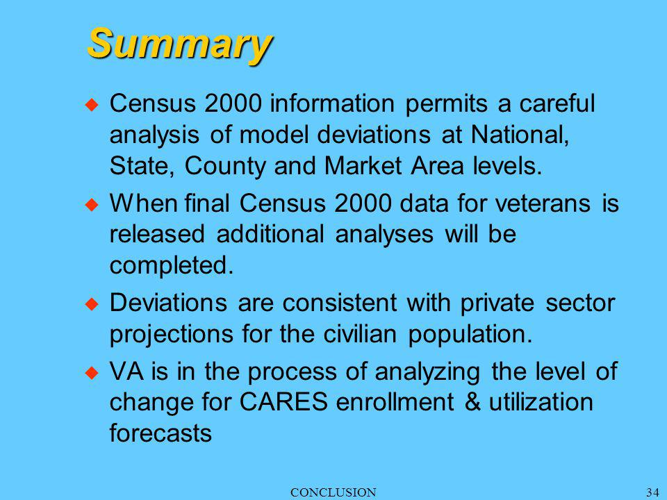CONCLUSION34 Summary u Census 2000 information permits a careful analysis of model deviations at National, State, County and Market Area levels.