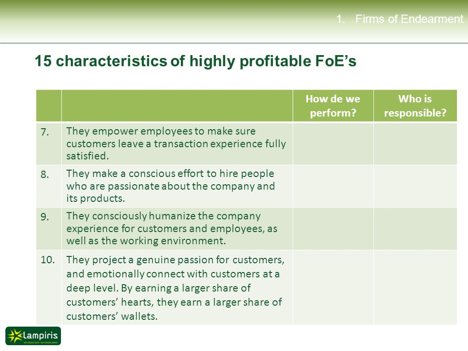 1.Firms of Endearment How de we perform. Who is responsible.