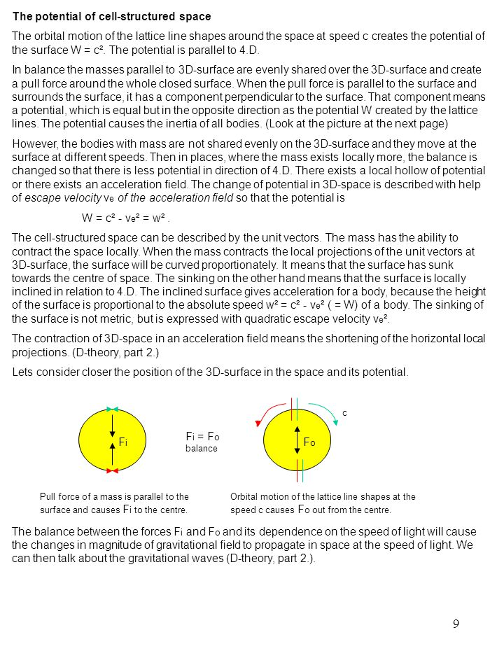 40 The great law of conservation The observer, who moves in absolute space at absolute speed c ², measures for an absolute momentum of a body with himself the value P = (mc)² (new quantity).
