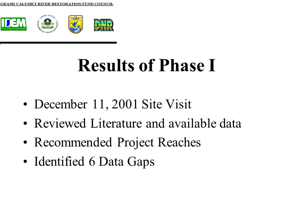 Results of Phase I December 11, 2001 Site Visit Reviewed Literature and available data Recommended Project Reaches Identified 6 Data Gaps