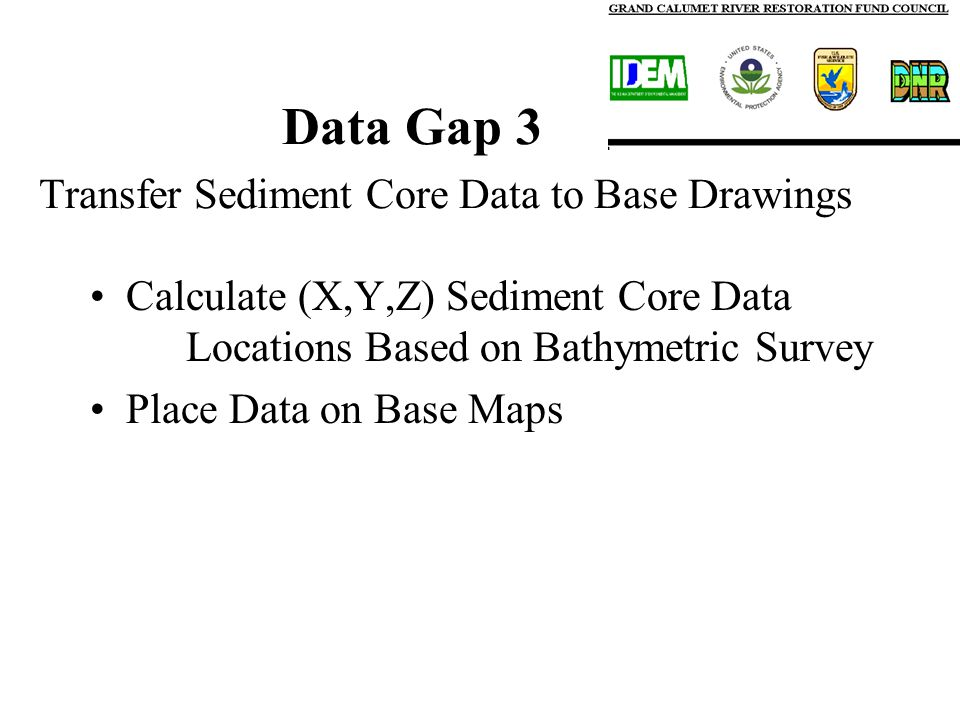 Data Gap 3 Transfer Sediment Core Data to Base Drawings Calculate (X,Y,Z) Sediment Core Data Locations Based on Bathymetric Survey Place Data on Base Maps