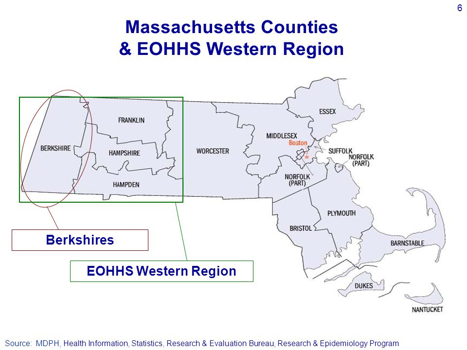 6 Source: MDPH, Health Information, Statistics, Research & Evaluation Bureau, Research & Epidemiology Program Massachusetts Counties & EOHHS Western Region EOHHS Western Region Berkshires