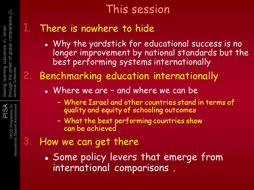 PISA OECD Programme for International Student Assessment Seeing learning outcomes in Israel through the prism of global comparisons Andreas Schleicher High ambitions Access to best practice and quality professional development Accountability and intervention in inverse proportion to success Devolved responsibility, the school as the centre of action