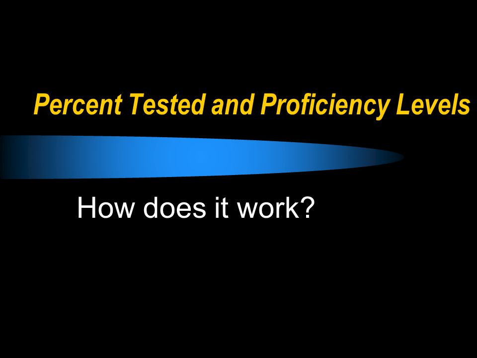 Percent Tested and Proficiency Levels How does it work