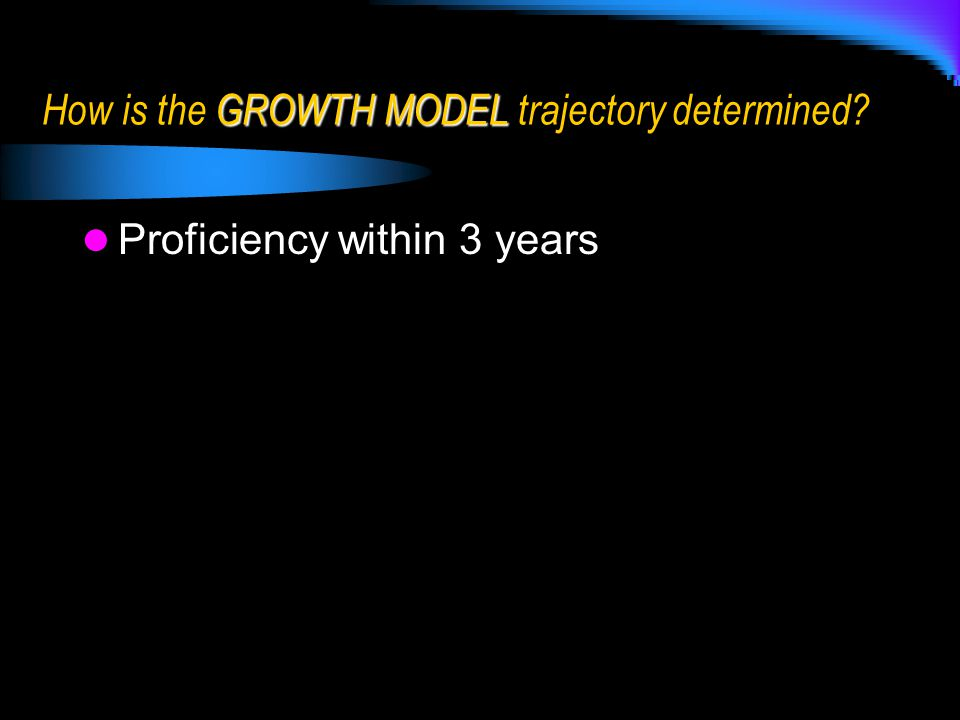 Proficiency within 3 years GROWTH MODEL How is the GROWTH MODEL trajectory determined