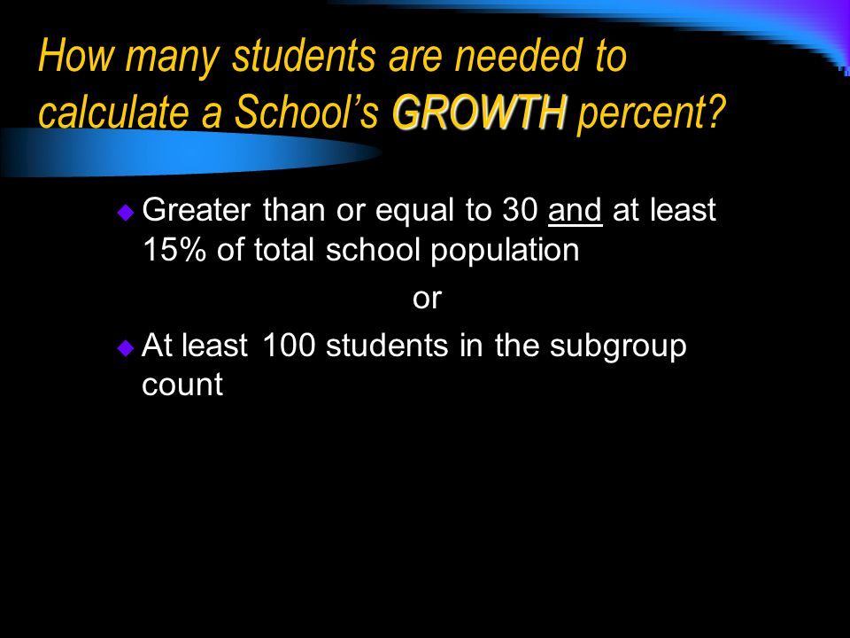  Greater than or equal to 30 and at least 15% of total school population or  At least 100 students in the subgroup count GROWTH How many students are needed to calculate a School's GROWTH percent