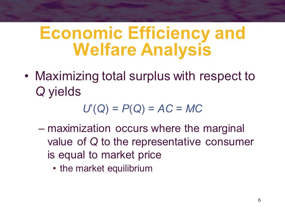 6 Economic Efficiency and Welfare Analysis Maximizing total surplus with respect to Q yields U'(Q) = P(Q) = AC = MC –maximization occurs where the marginal value of Q to the representative consumer is equal to market price the market equilibrium