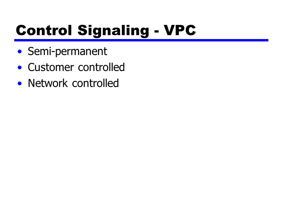 Control Signaling - VPC Semi-permanent Customer controlled Network controlled