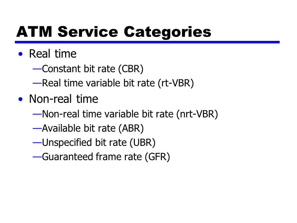 ATM Service Categories Real time —Constant bit rate (CBR) —Real time variable bit rate (rt-VBR) Non-real time —Non-real time variable bit rate (nrt-VBR) —Available bit rate (ABR) —Unspecified bit rate (UBR) —Guaranteed frame rate (GFR)