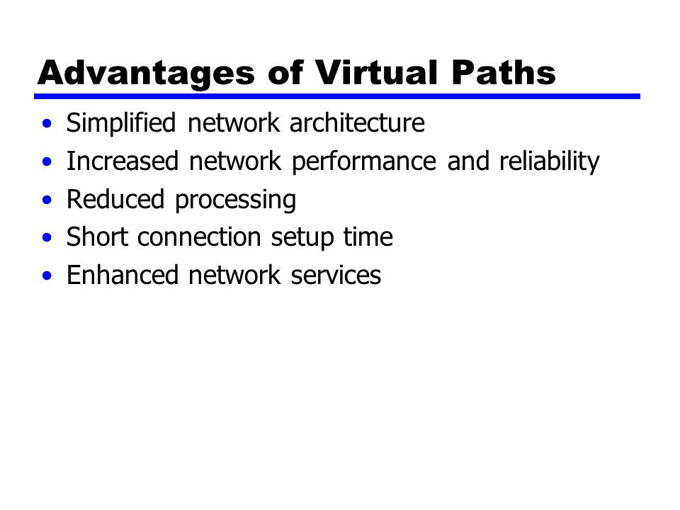 Advantages of Virtual Paths Simplified network architecture Increased network performance and reliability Reduced processing Short connection setup time Enhanced network services