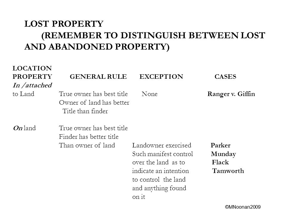 ©MNoonan2009 LOST PROPERTY (REMEMBER TO DISTINGUISH BETWEEN LOST AND ABANDONED PROPERTY) LOCATION PROPERTY GENERAL RULE EXCEPTION CASES In /attached to Land True owner has best title None Ranger v.