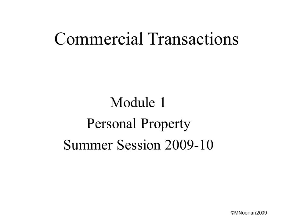 ©MNoonan2009 Commercial Transactions Module 1 Personal Property Summer Session 2009-10