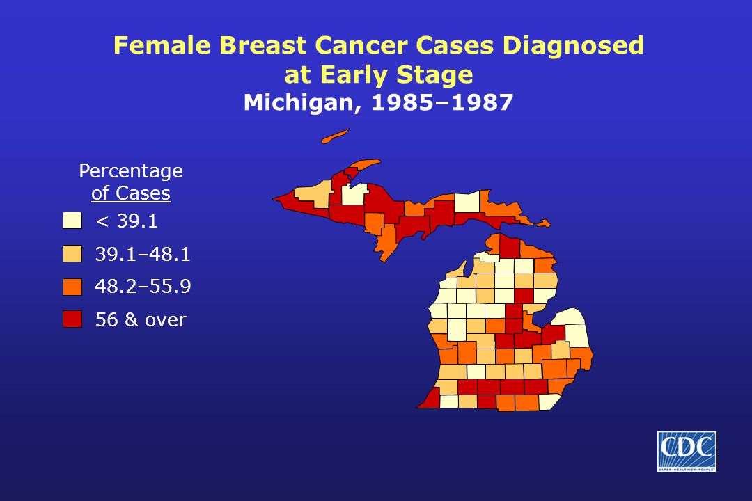 Female Breast Cancer Cases Diagnosed at Early Stage Michigan, 1985–1987 Percentage of Cases < 39.1 39.1–48.1 48.2–55.9 56 & over