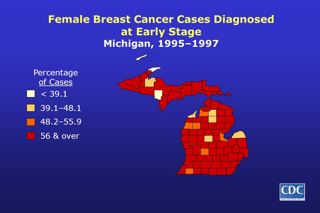 Female Breast Cancer Cases Diagnosed at Early Stage Michigan, 1995–1997 Percentage of Cases < 39.1 39.1–48.1 48.2–55.9 56 & over