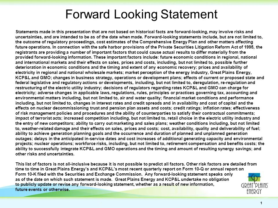 1 Forward Looking Statement Statements made in this presentation that are not based on historical facts are forward-looking, may involve risks and uncertainties, and are intended to be as of the date when made.