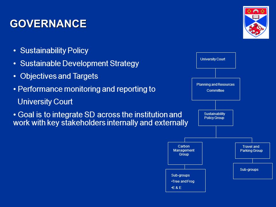 GOVERNANCE Sustainability Policy Sustainable Development Strategy Objectives and Targets Performance monitoring and reporting to University Court Goal is to integrate SD across the institution and work with key stakeholders internally and externally University Court Planning and Resources Committee Sustainability Policy Group Travel and Parking Group Carbon Management Group Sub-groups Tree and Frog E & E Sub-groups