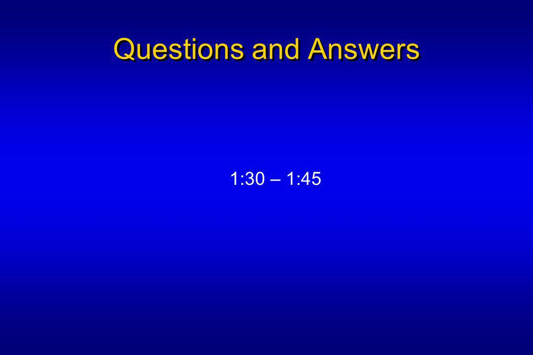 Questions and Answers 1:30 – 1:45