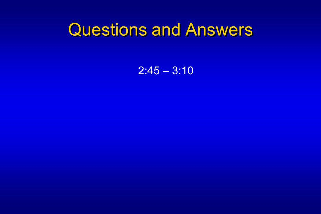 Questions and Answers 2:45 – 3:10