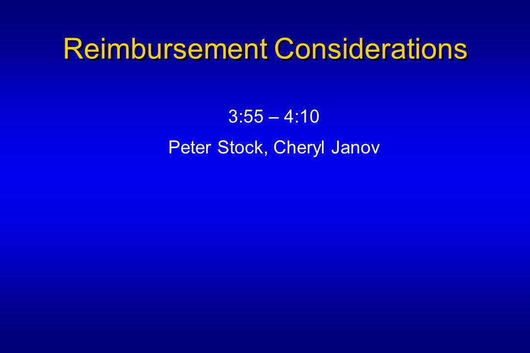 Reimbursement Considerations 3:55 – 4:10 Peter Stock, Cheryl Janov