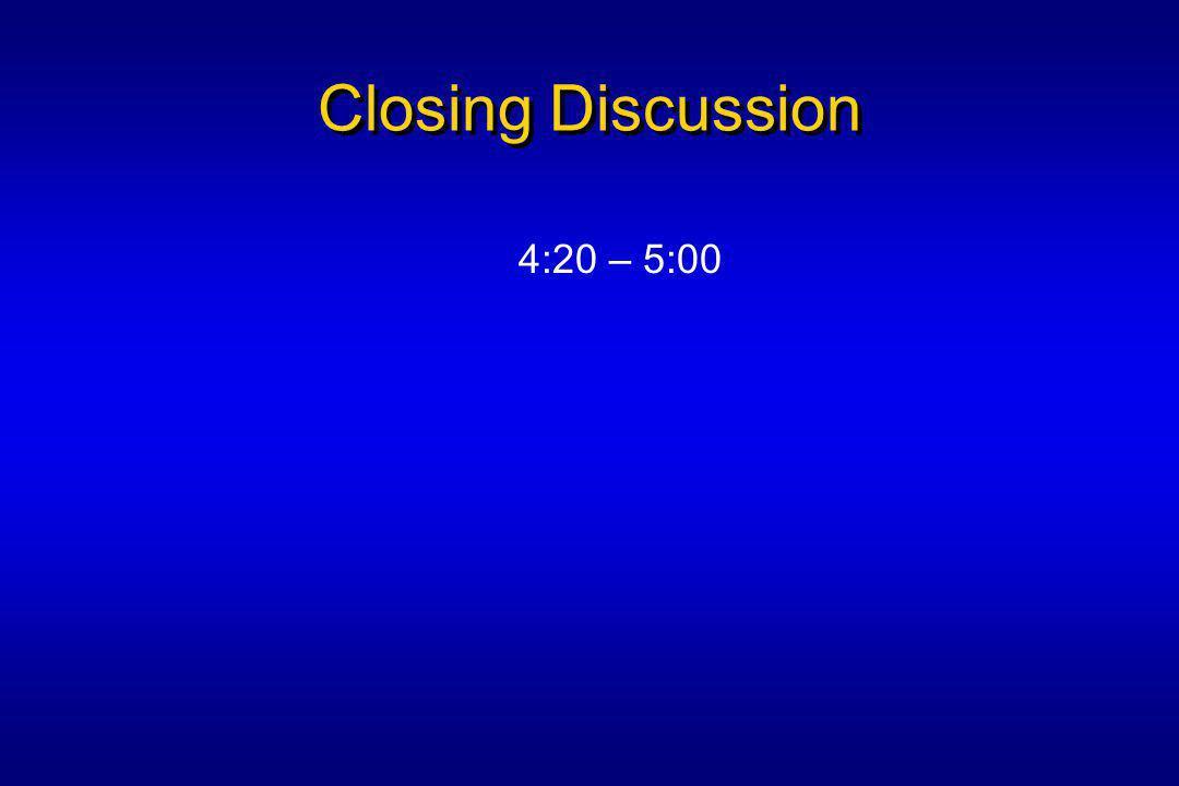 Closing Discussion 4:20 – 5:00