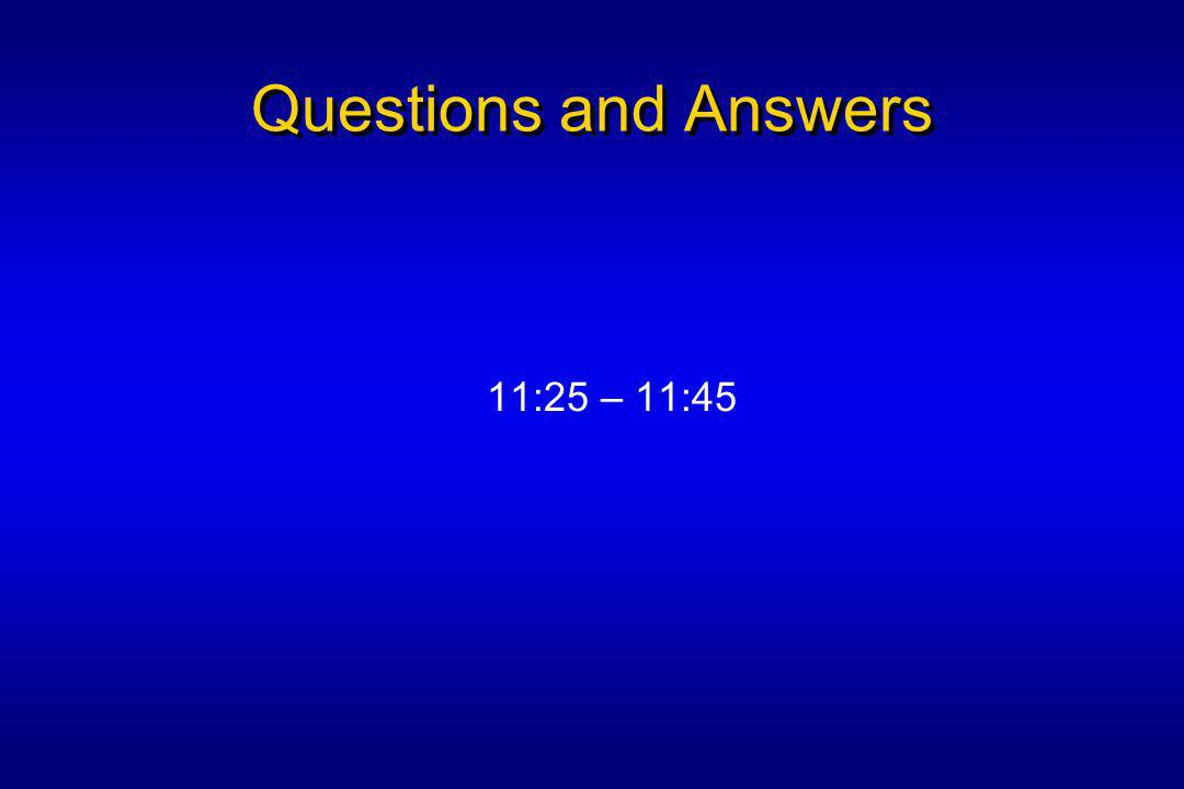 Questions and Answers 11:25 – 11:45