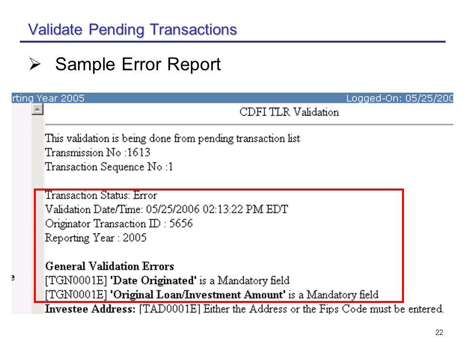 22 Validate Pending Transactions  Sample Error Report