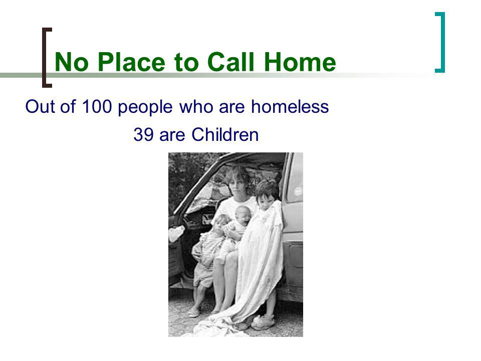 No Place to Call Home Out of 100 people who are homeless 39 are Children