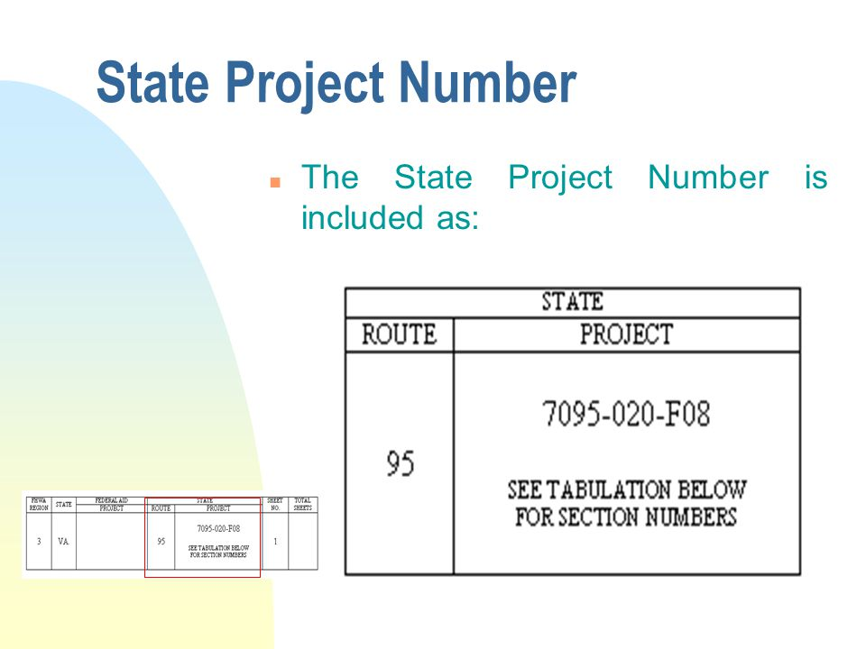 State Project Number n The State Project Number is included as: