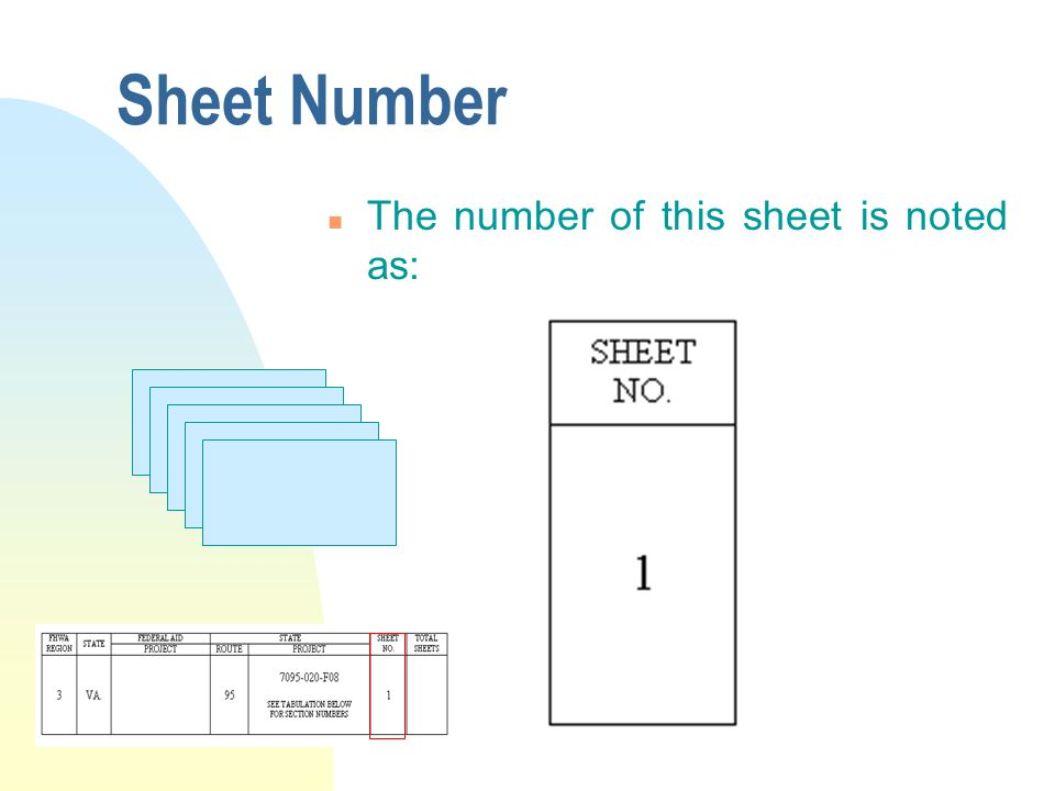 Sheet Number n The number of this sheet is noted as: