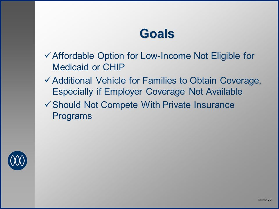 Milliman USA Goals Affordable Option for Low-Income Not Eligible for Medicaid or CHIP Additional Vehicle for Families to Obtain Coverage, Especially if Employer Coverage Not Available Should Not Compete With Private Insurance Programs