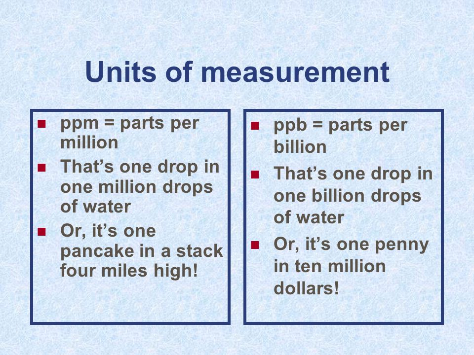 Units of measurement ppm = parts per million That's one drop in one million drops of water Or, it's one pancake in a stack four miles high.