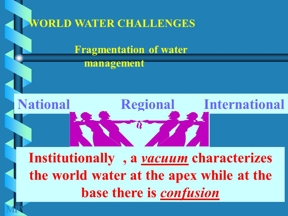 Fragmentation of water management WORLD WATER CHALLENGES MPWWR Institutionally, a vacuum characterizes the world water at the apex while at the base there is confusion National Regional International