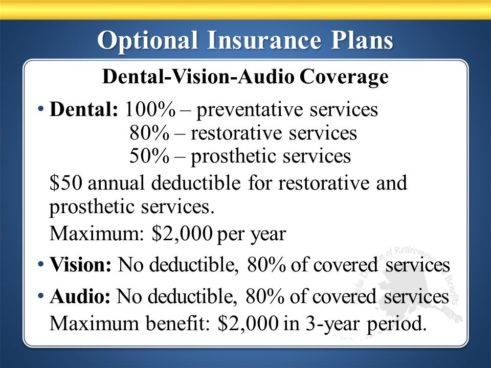 Optional Insurance Plans Dental: 100% – preventative services 80% – restorative services 50% – prosthetic services $50 annual deductible for restorative and prosthetic services.