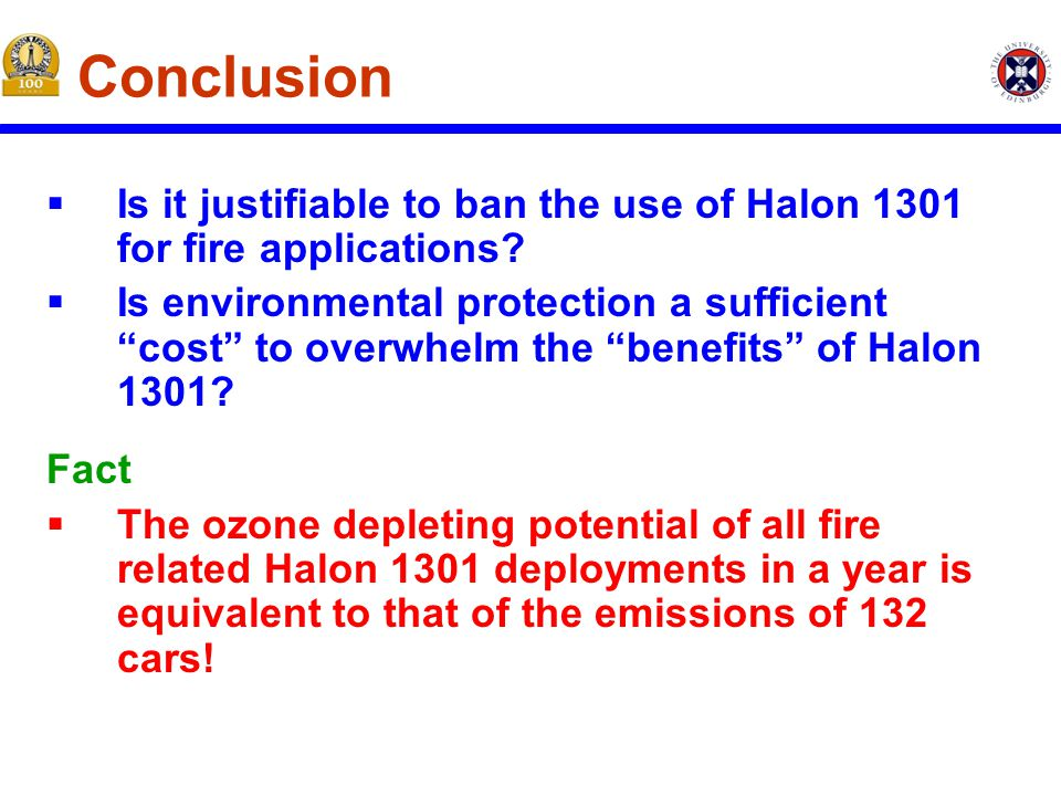 Conclusion  Is it justifiable to ban the use of Halon 1301 for fire applications.