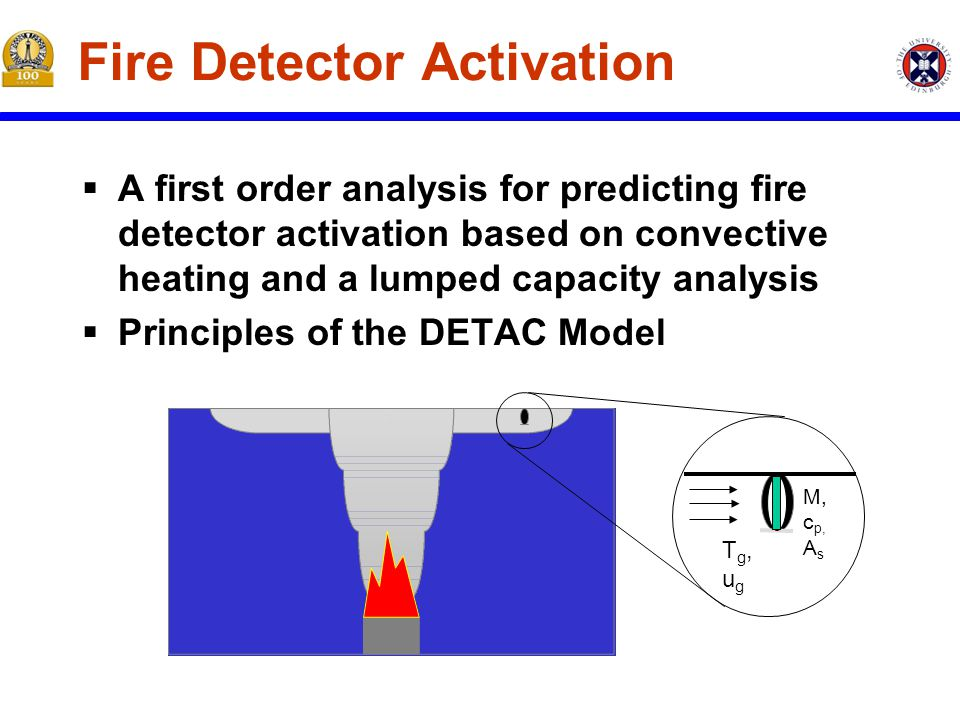 Tg,ugTg,ug M, c p, A s Fire Detector Activation  A first order analysis for predicting fire detector activation based on convective heating and a lumped capacity analysis  Principles of the DETAC Model