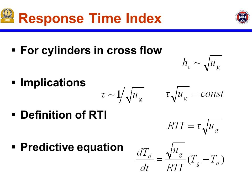 Response Time Index  For cylinders in cross flow  Implications  Definition of RTI  Predictive equation