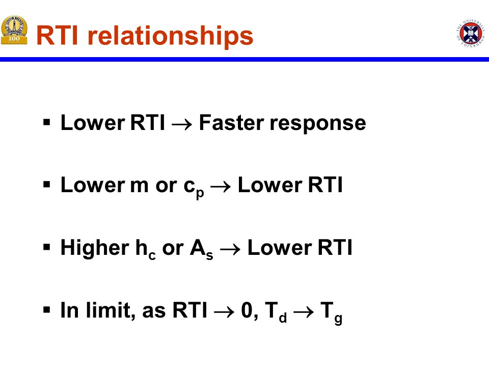 RTI relationships  Lower RTI  Faster response  Lower m or c p  Lower RTI  Higher h c or A s  Lower RTI  In limit, as RTI  0, T d  T g